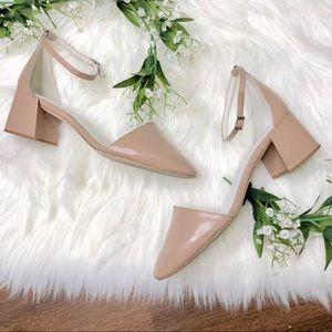 Jeffery Campbell   Nude Pink Block Strap Heels